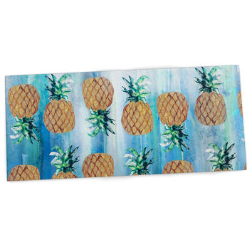 "Nikki Strange ""Pineapple Beach"" Blue Brown Desk Mat"
