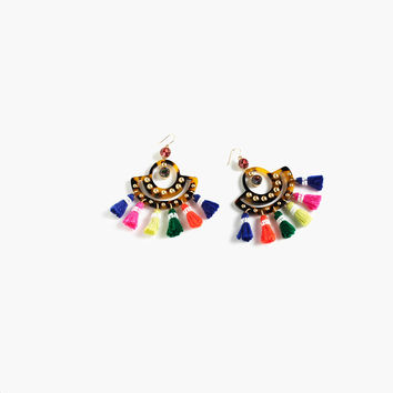 TORTOISE TASSEL CHANDELIER EARRINGS