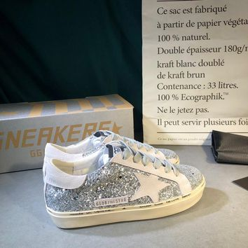 Golden Goose Ggdb Hi Star Sneakers With Glitter And White Star - Best Online Sale