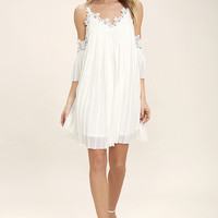 Give Thanks White Lace Off-the-Shoulder Dress