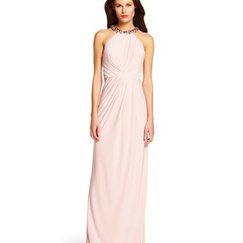 Adrianna Papell Beaded Halter Neck Jersey Gown | Dillards