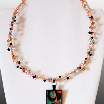 Boho Chic Wire Necklace Abstract Art Pendant Crochet Copper Gold Turquoise Black Beads Magnetic Clasp