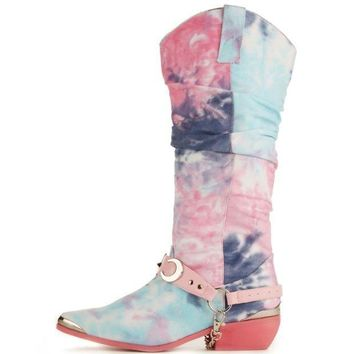 ESBI7E Y.R.U. for Women: Death Proof Tie Dye Cowboy Boots