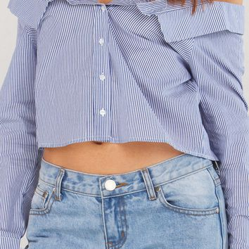Striped Off The Shoulder Top in Navy