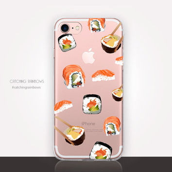 Transparent Sushi Phone Case - Transparent Case - Clear Case - Transparent iPhone 7 - Clear iPhone 7 Plus - Gel Case - Soft TPU - iPhone SE