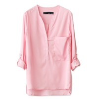 Pink Collar Solid Color Armbands Cuff Shirt