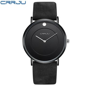 Super slim Quartz Casual Wristwatch Business CRRJU Top Brand Genuine Leather Analog Sports Watch Men's 2017 Relogio Masculino