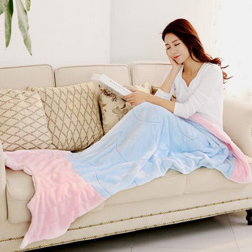 Flannel Knitted Mermaid Tail Blanket Embroidered Splice Crochet Mermaid Kids Bed Wrap Super Soft Sleeping Bed