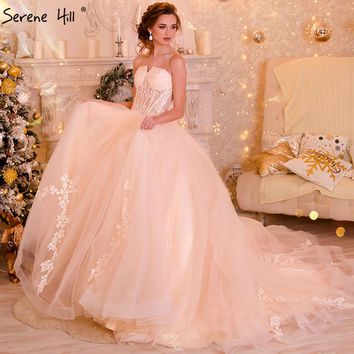 New Bridal   Lace Ball Gown Wedding Dress Train  Beading Tulle Sweetheart Wedding Gown 2018 Real Picture Serene Hill