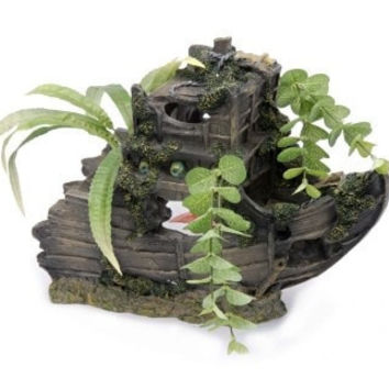 AQUATICS - ORNAMENTS/DECOR - SHIPWRECK BOW LARGE ORNAMENT - SUNKEN GARDENS - PENN PLAX INC - UPC: 30172014581 - DEPT: AQUATIC PRODUCTS