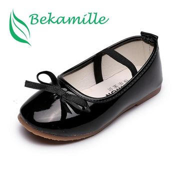 high quality children's sandals Girls leather single shoes kids girls princess bowtie Student flat shoes K3049