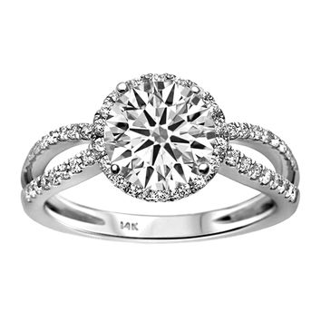 0.37ct Side Diamonds 14K White Gold Semi Mount Engagement Ring