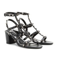 valentino - rockstud noir leather sandals with block heel