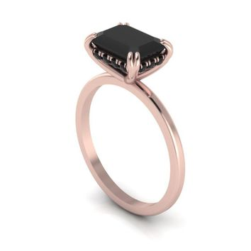 14K Rose Gold Emerald Cut Onyx Solitaire Engagement Ring