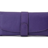 Modern Flap Purple Ladies Leather Wallet. Genuine Leather Wallet. Dark Purple Leather Purse