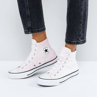 Converse Chuck Taylor All Star Velvet Hi Top Trainers In Pink at asos.com