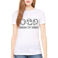 White Tshirt - OCD Obsessive Cat Disorder - Cat Shirt Funny
