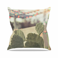 "Ann Barnes ""Austin Summer Party"" Green Tan Throw Pillow"