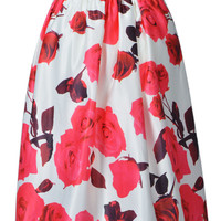 Red Rose Print Midi Skirt in White