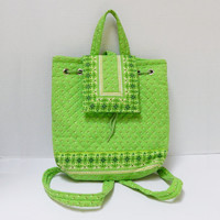 Vintage Quilted Cotton Backpack, Lime Green Print