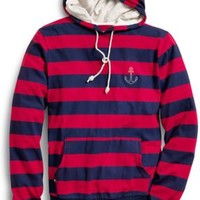 Sperry Top-Sider Striped Pull Over Hoodie RibbonRed/NavyStripe, Size L  Men's