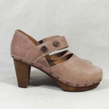 PINK Sanita High Heel Wooden Platform Clogs 41