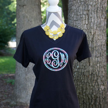 Lilly Pulitzer Inspired Monogram Shirt - Lilly Pulitzer Circle Monogram Shirt - Circle Monogram Shirt - Fancy Circle Monogram Shirt