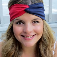 Houston Texans Headband Red and Blue Turband New by ItsTwisted