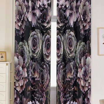 2PCS Vintage Floral Print Blackout Window Curtains