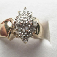 Vintage 10kt Yellow Gold Stunning Wide Diamond Pointed Cluster Ring, size 7
