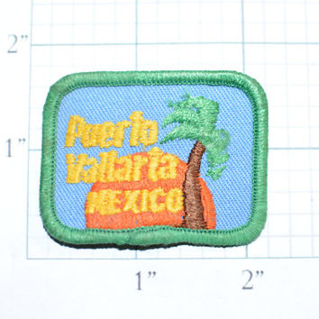 Small Puerto Vallarta Mexico Vintage Iron-on Travel Patch Souvenir Memorabilia, Jeans Jacket Patch Backpack Patch Embroidered Patch e20a