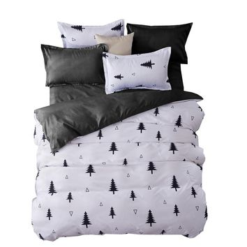 Bedding Sets Fashion Duvet Cover Set With Bed Sheet RU Family Size For Russia,Queen King For USA Bedclothes Gray Christmas tree