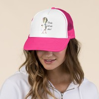 Drinks well with others, funny Wine art Trucker Hat