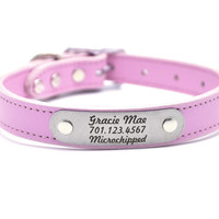 Leather Dog Collar With Personalized Nameplate - Rose