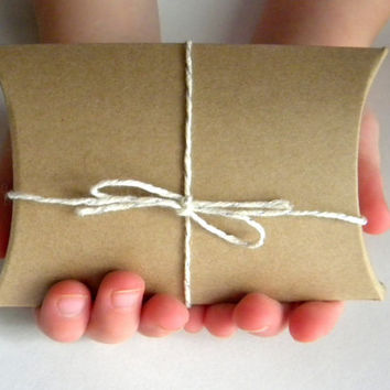 "20 Kraft Brown Pillow Box, Small  3 1/2"" x 3""  x 1"" Wedding Favor Box, Christmas Gift Box, Gift Packaging"