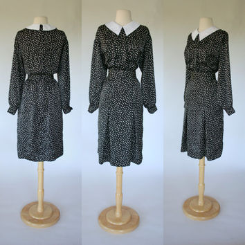 1980's satin polka dot dress, Albert Nipon black secretary dress, long sleeve w/ white pointed peter pan collar, Size Medium 8