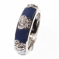 Beautiful Designer Inspired Dark Blue Enamel Ring With CZ Butterfly Design