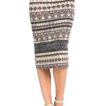 Boho Tribal Geo Midi Skirt