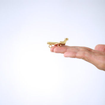 MINIATURE BRASS AEROPLANE or Plane, LIttle Trinkets, Tiny Figurine or Figure, Gold Colored Charm, Display Case, Shadow Box