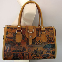 Vintage 70s MOD Leather Ethnic Egyptian Tooled Satchel Speedy Doctor Bag Egypt Boho Art