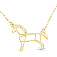 Gold Horse Origami Necklace