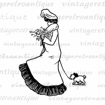 Printable Graphic Lady Walking Little Dog Digital Woman Image Download Vintage Clip Art for Transfers etc HQ 300dpi No.3189
