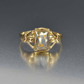 Art Deco Gold Aquamarine Ring Antique Engagement