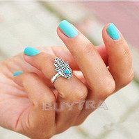 Retro Silver Hand Of Fatima Hamsa Evil Eye Protection Mid Midi Finger ring
