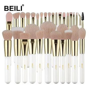 BEILI High End White Professional Makeup Brush Set