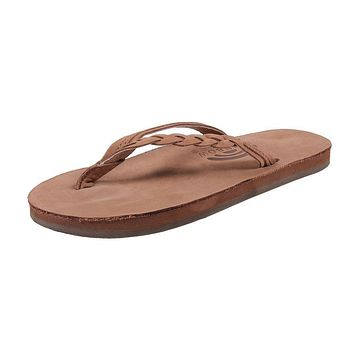 Women's Flirty Braidy Leather Sandal in Dark Brown by Rainbow Sandals