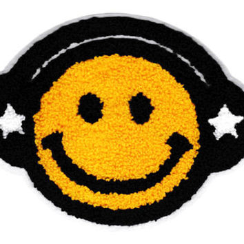XL 17cm Extra Large Cool Chenille Yellow Smiley Face Headphones Smile Patch Badge Hip Hop DJ