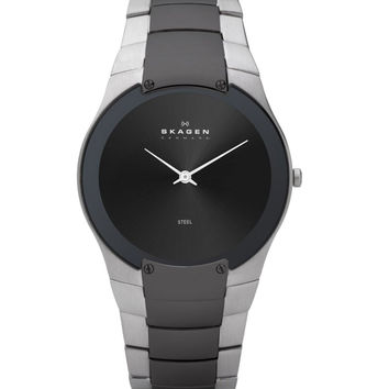Skagen 861XLSMXM Men's Denmark Two Tone Grey Dial Quartz Watch