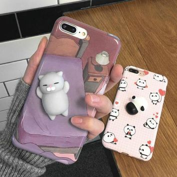 LMFIH3 New stereo kneading cute cat apple 6s iphone 7plus soft protective case