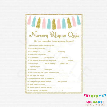 Pink and Blue Baby Shower, Nursery Rhyme Quiz, Gender Reveal Party, Pink and Blue Tassel, Baby Shower Printables, Neutral Baby Shower TASPBG